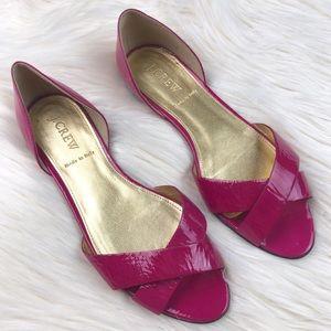 J. Crew Pink Patent Leather Flat Sandals